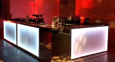 U shape Led hire, this bar unit is 5m longand 3m deep idal for events with 200-300 geusts.