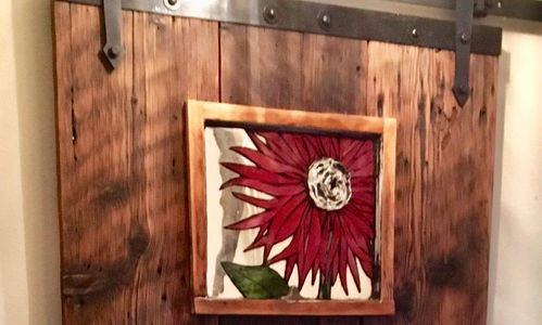 Red Flower Glass on Glass Mosaic Window