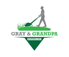 Gray and Grandpa mowing Inc.
