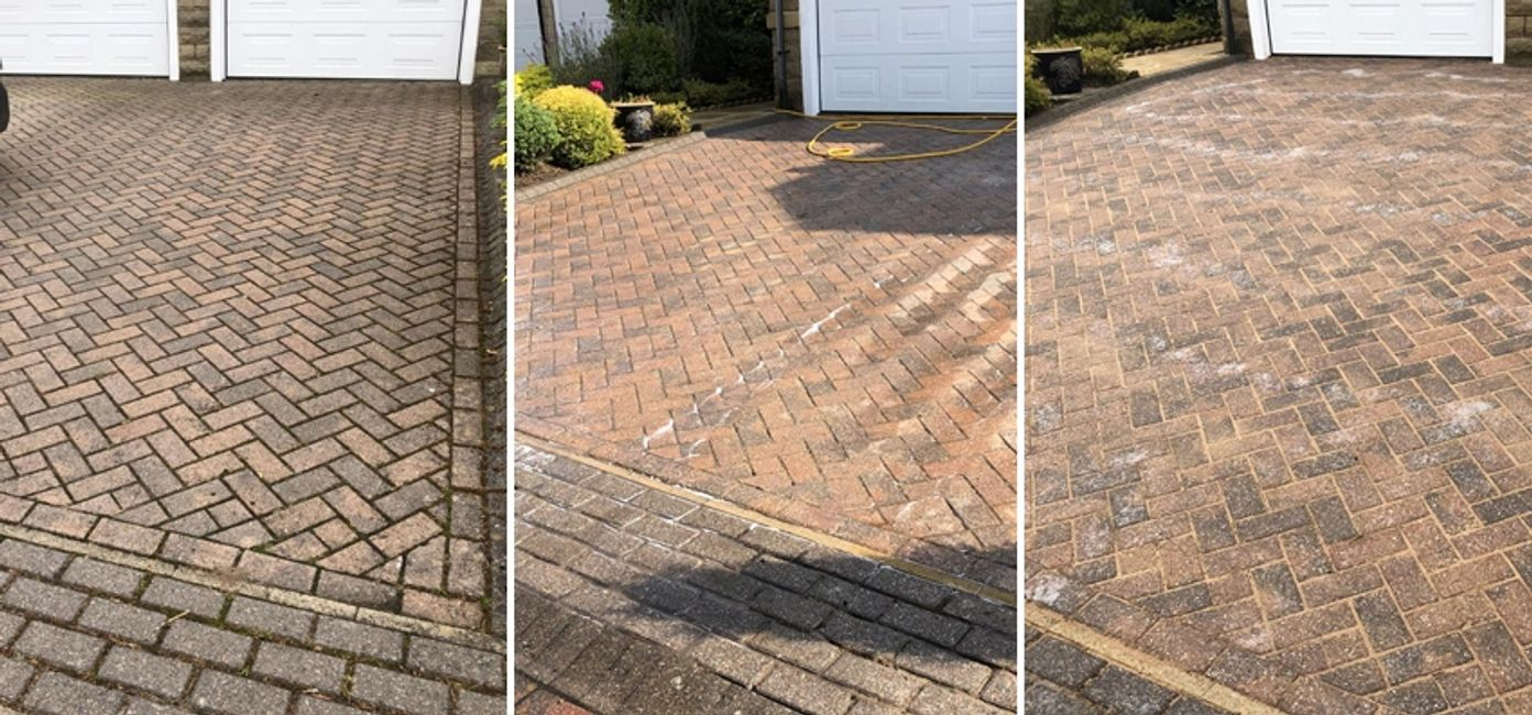 Showing the stages of cleaning and re sanding block paving