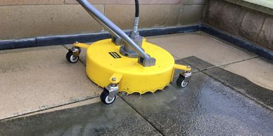 Patio Cleaning with a whirlaway surface cleaner.