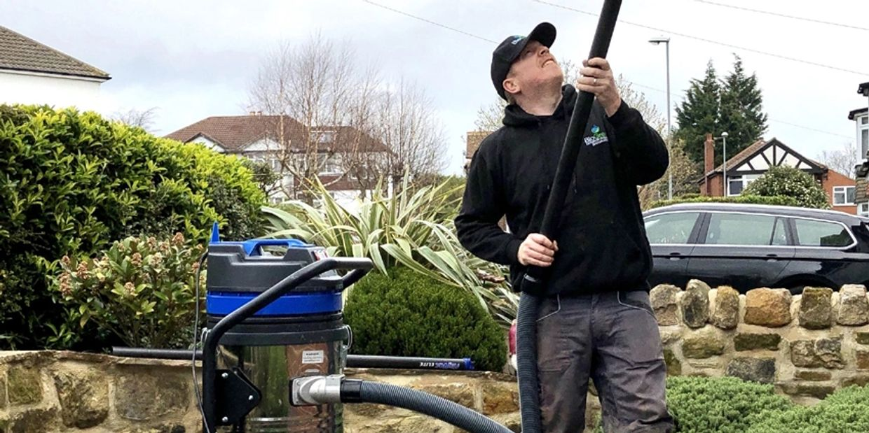 Gutter cleaning in Leeds and yorkshire using a vacuum.