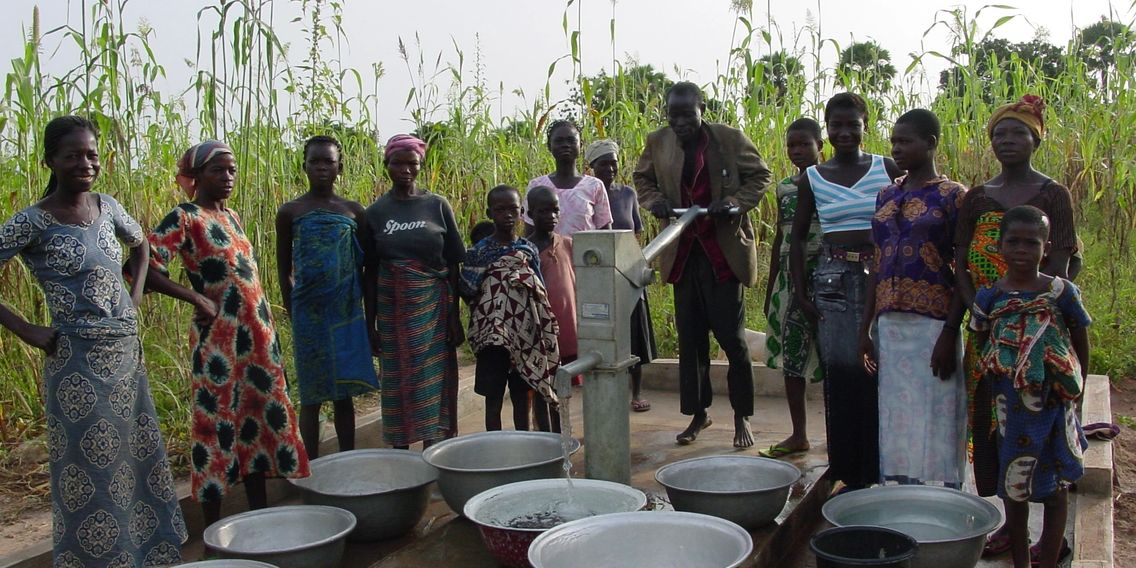 Women gathering water in Ghana