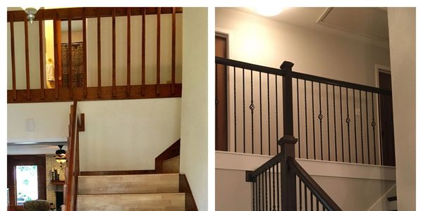 Newel post, iron balusters, san antonio stairs, railing, staircase, renovation, treads,