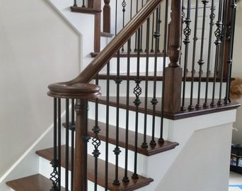 Newel return tread risers iron baluster stair remodel skirtboard staircase