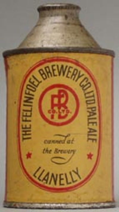 This Felinfoel 9 2/3 ounce cone top can was was the first beer can produced outside of the US.