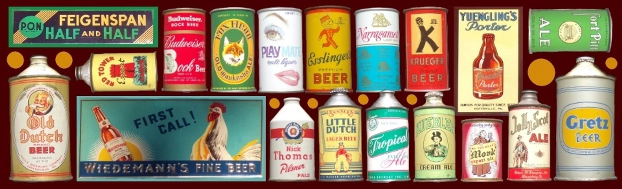 Vintage beer cans and tin over cardboard signs at CanSmart Auctions. cansmartbeercans.com