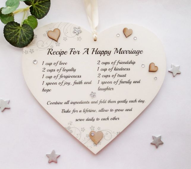 Recipe for a happy marriage  wooden gift plaque wedding day gift