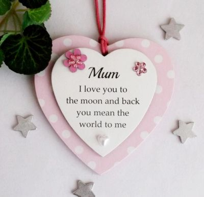 Mum Heart I love you Double plaque