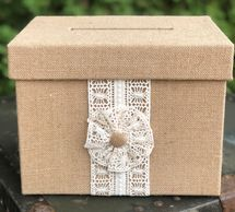 burlap covered box for holding cards