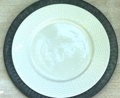 white basketweave edge dinner plate on galvanized charger