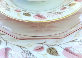 Noritake Rosanne plates. gold rim with pink and taupe leaves.