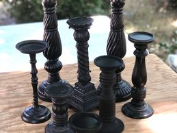 black pillar candle stands
