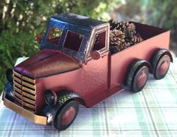 decorative red metal truck