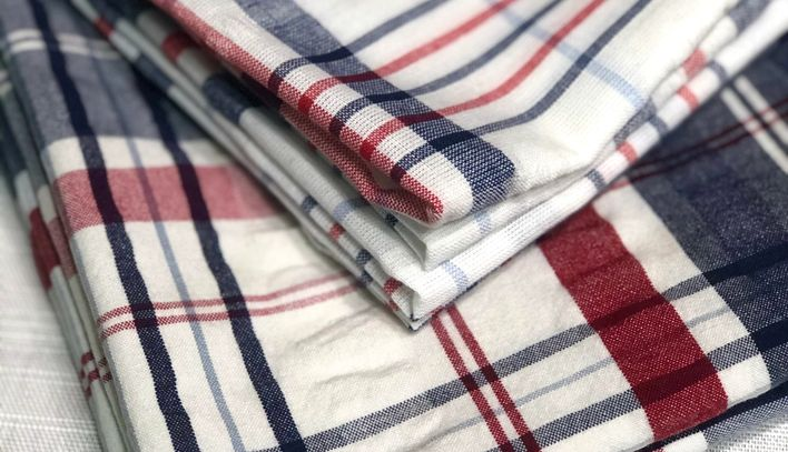 Red, white and blue plaid napkins