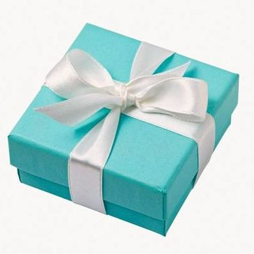 Tiffany & Co. Iconic Blue Box with Elegant White Satin Ribbon Bow, Luxury Gift Packaging at its finest made in the U.S.A.