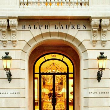 Ralph Lauren Elegant Retail Shop Entrance Doors opening to Luxury Fashion and Accessories.