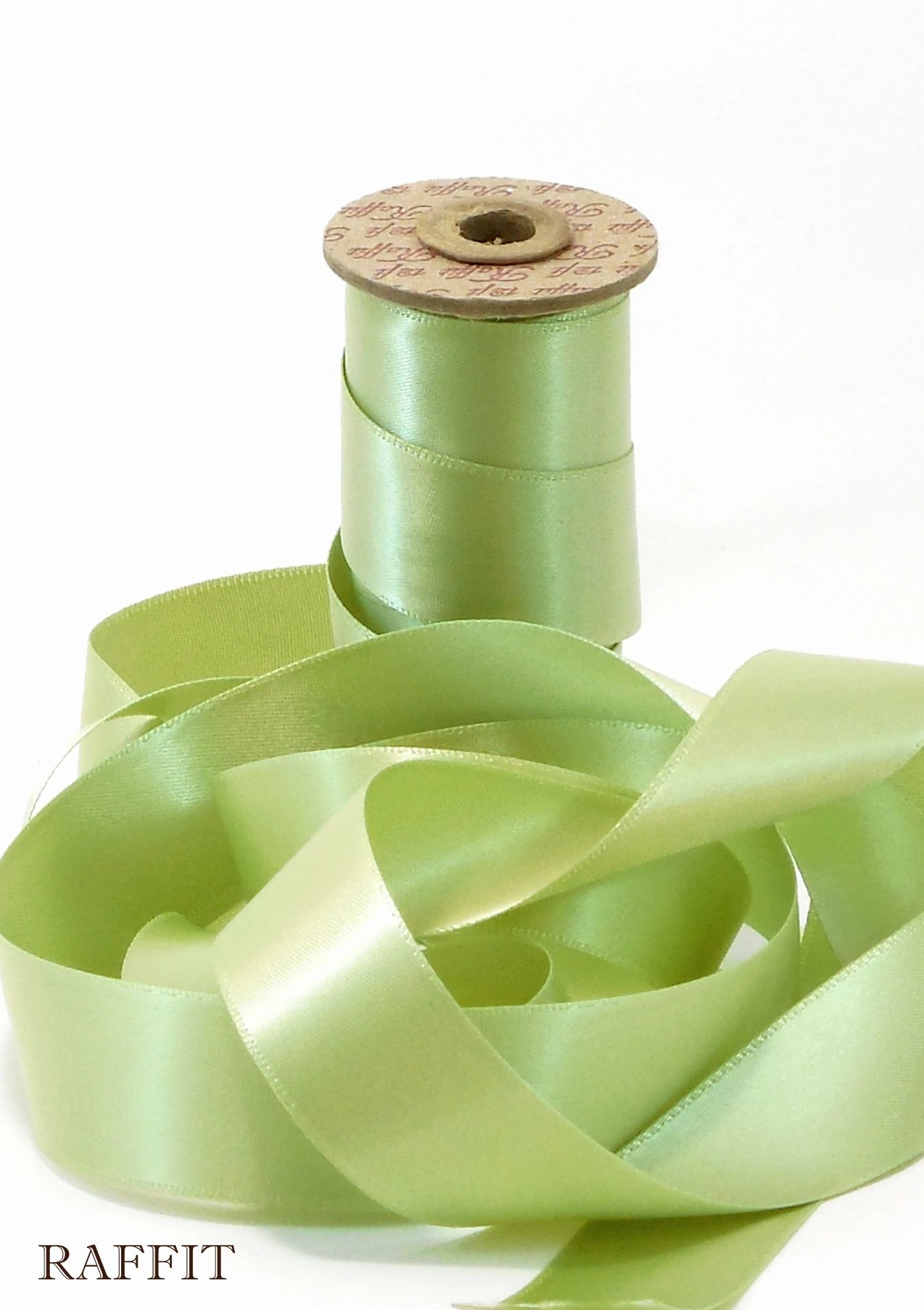 "Raffit Ribbons Italian Satin Double Face Sage Green ⅞"" W on Vintage Spool Made in the USA"