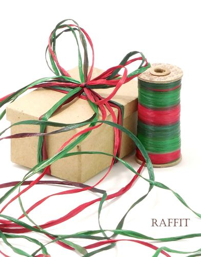 Raffit Ribbons Raffia Three-Color Christmas Combination on Vintage Spool Made in the USA Hand-Dyed
