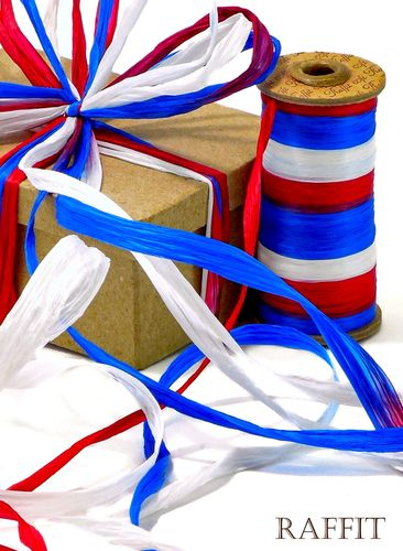 Raffit Ribbons Raffia 3-Color Combination Matte Finish Red, White and Blue Made in the USA