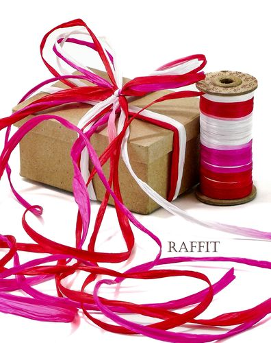 Raffit Ribbons Raffia Three Color Combination Valentine's Day Red White Fuchsia Made in the USA