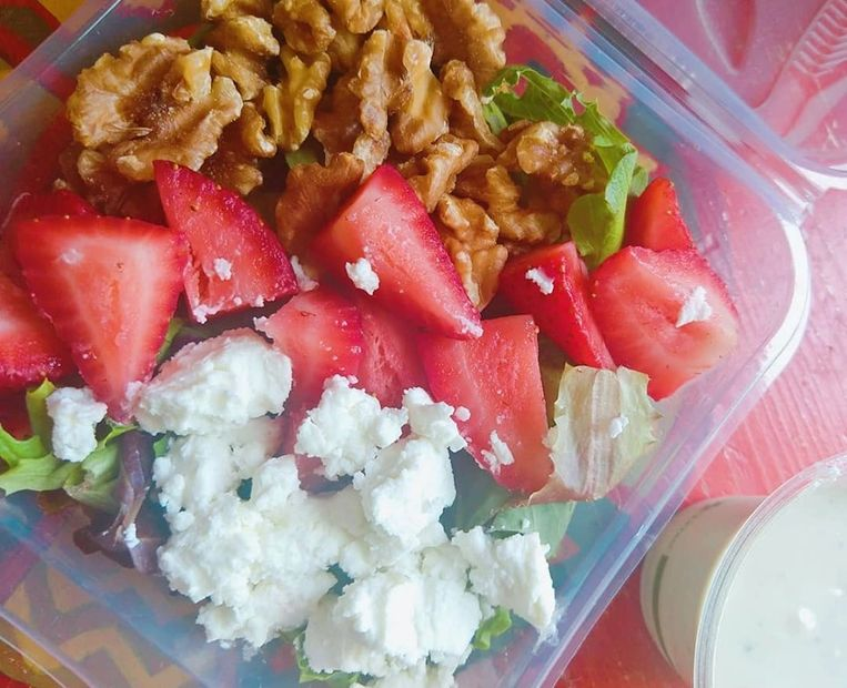 Strawberry, Chevre, Walnut Salad