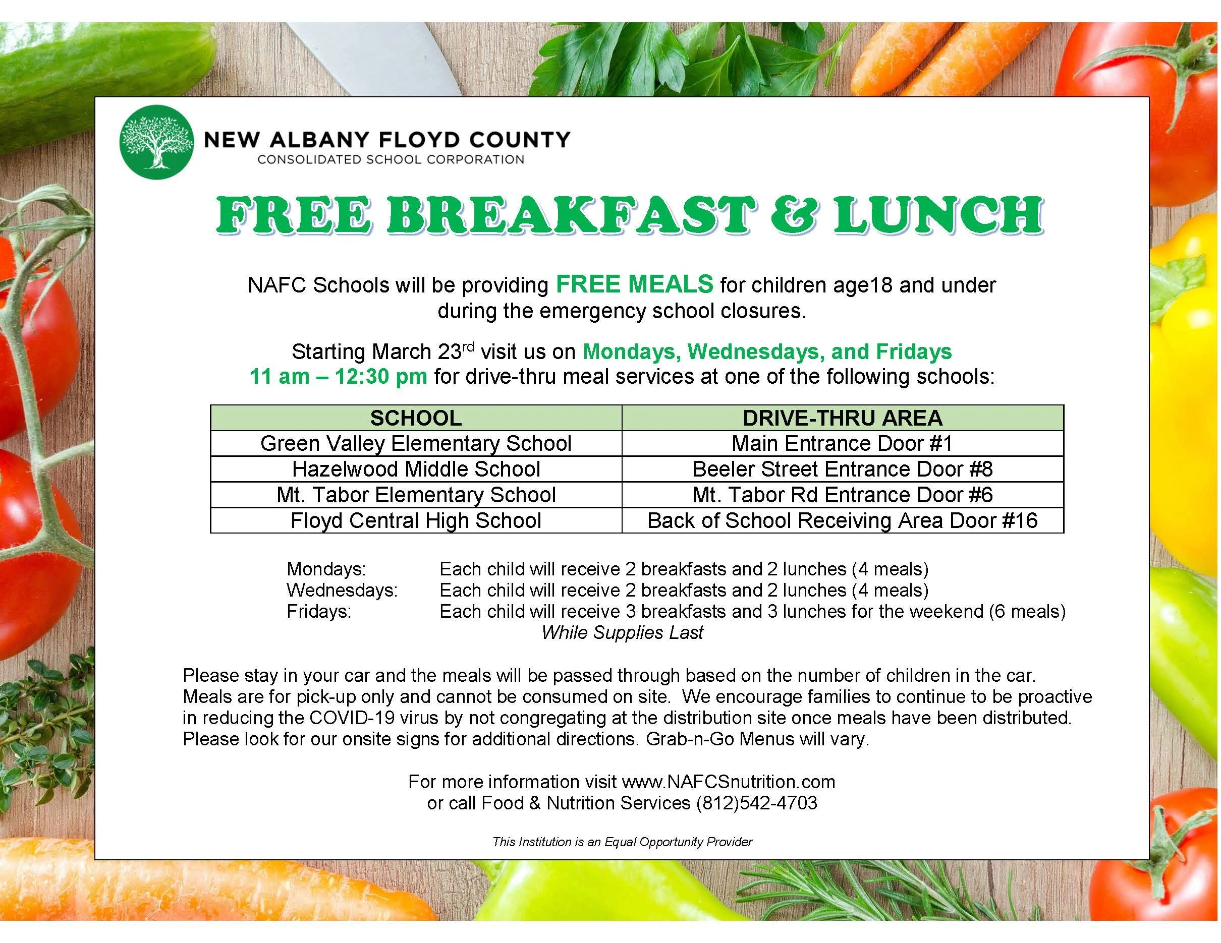 New Albany - Floyd County Schools providing free meals for children 18 and under.