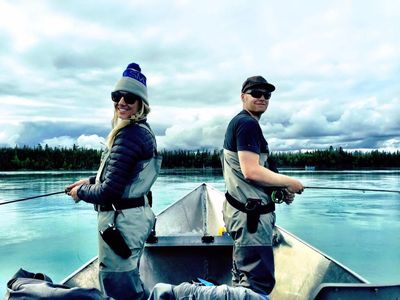 Dustin and Dallas Voss on the middle section of the Kenai River during the trout opener.
