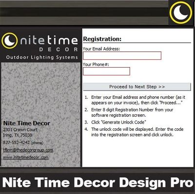 Nite Time Decor Custom Program by Landscape Lighting Software registration.