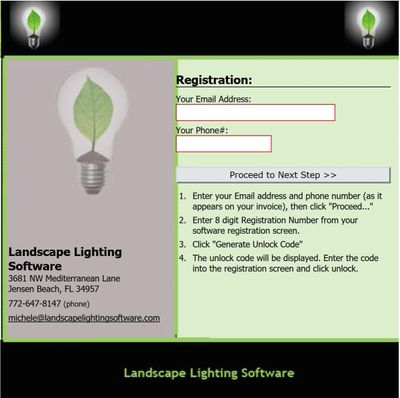Landscape Lighting Software can be registered to two computers.