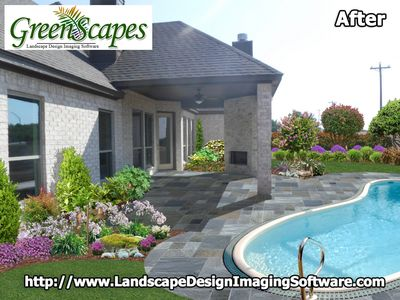 GreenScapes allows you not only to show lighting but design landscaping and paving-stone.