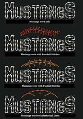 Mustangs Sports Design Options, Word, Baseball, Basketball and Football