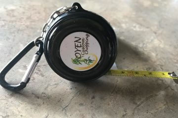 "6-Foot Black Pocket Tape Measure with Carabiner & 1"" Insert Area, 2-sided"