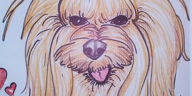 Your precious little dog would love her caricature drawn!