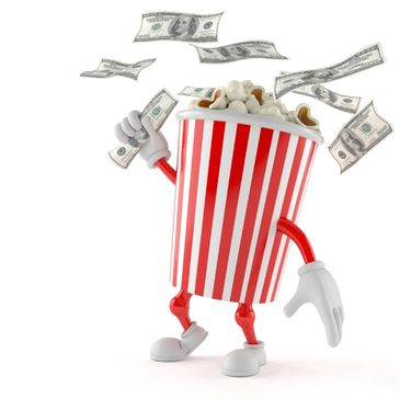 An animated popcorn bucket grabs cash in the air