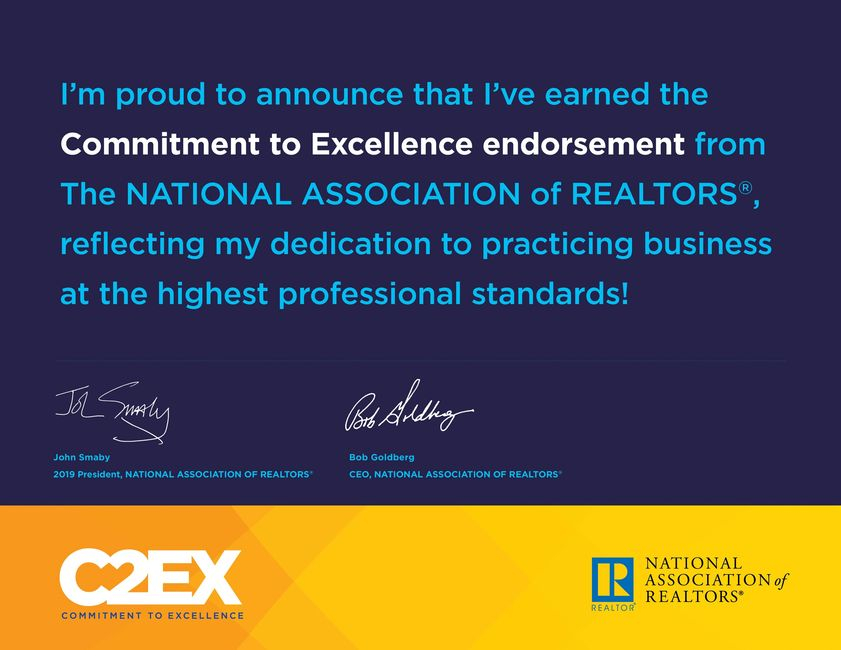 Certificate to Zully Ruiz is the highest professional standard given to a Realtor  Earned 2019