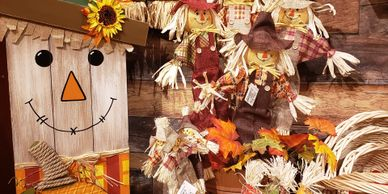 Fall decorations for outdoors or indoors. Visit artists and handcrafted vendors for your gifts.