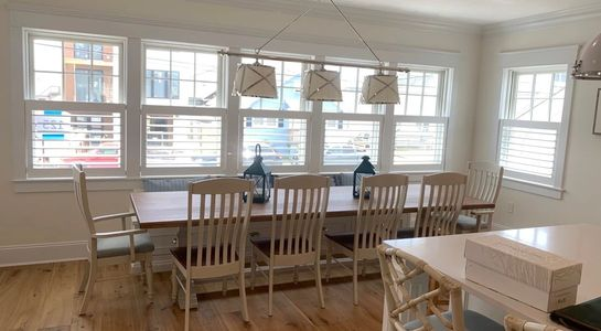 Cafe shutters in a Manasquan, NJ dining room.