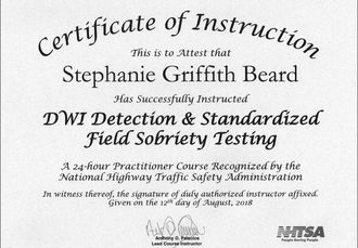 NHTSA SFST Instructor Certificate