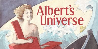 Watercolour cover of a children's book called Albert's Universe by the artist and her husband