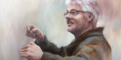 A soft oil painting of conductor Jim Sparks, UBC professor