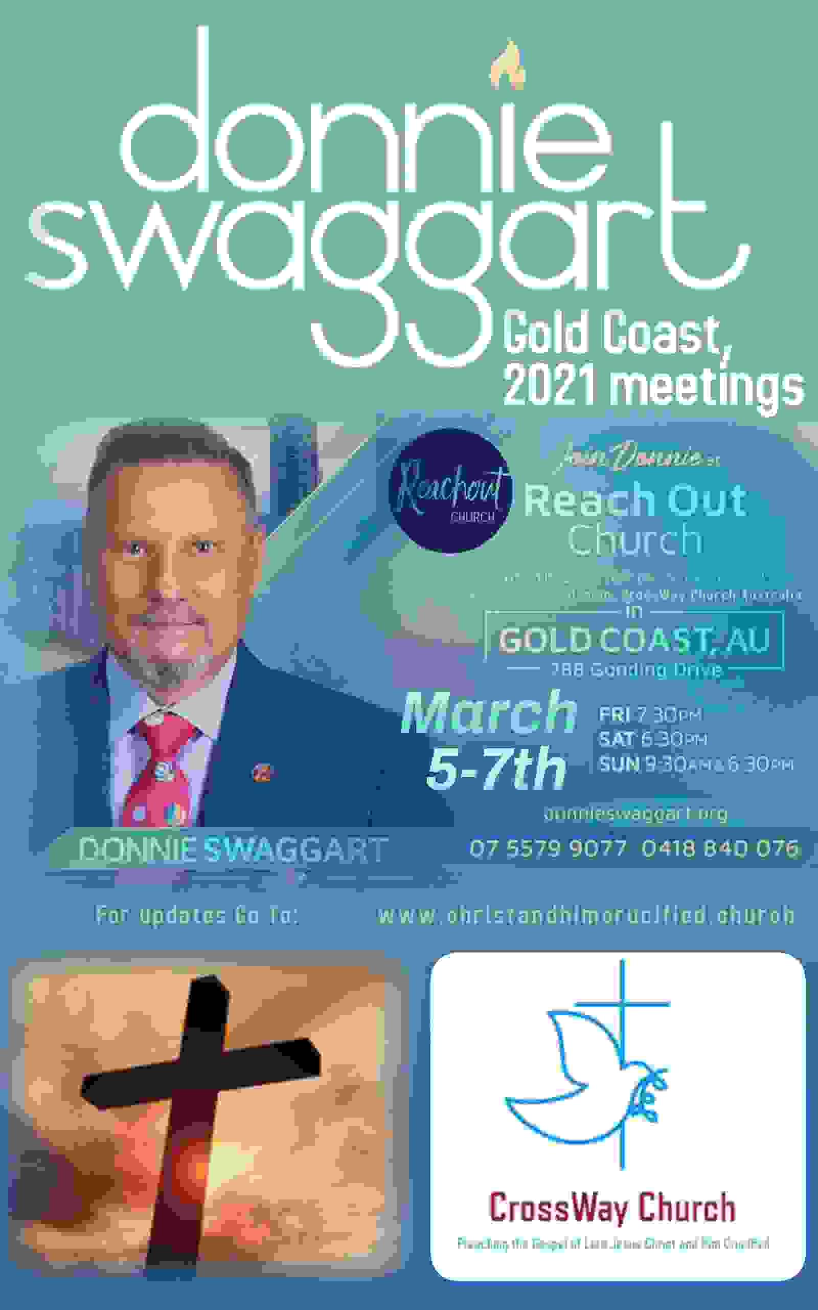 Donnie swaggart gold coast Australia march 2021 sbn message of the cross crossway church Australia s
