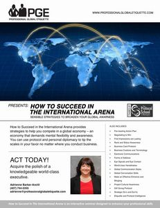 international arena, etiquette, business, professional, business soft skills, adrienne barker