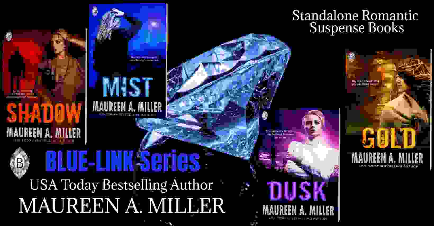 BLUE-LINK romantic suspense book covers with blue diamond in background.