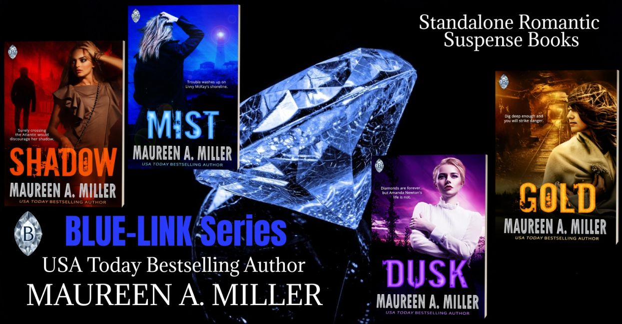 BLUE-LINK romantic suspense book covers.