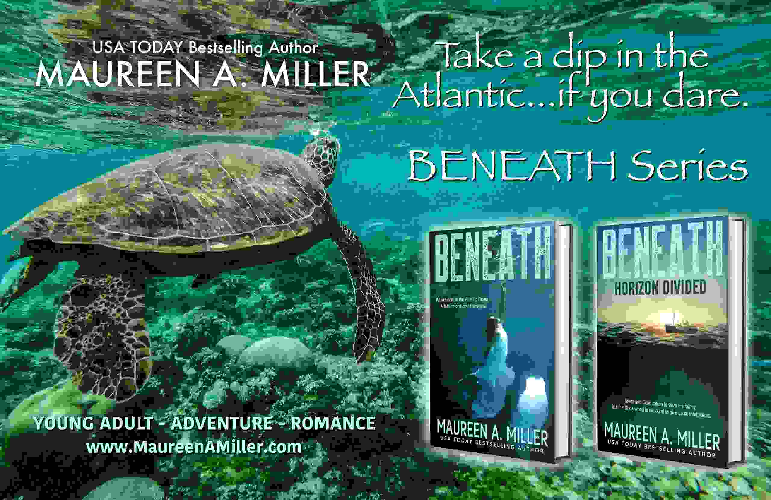 BENEATH series book covers from Maureen A. Miller. Sea turtle in the ocean.
