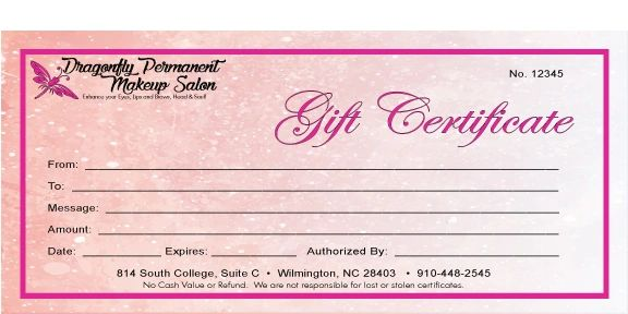 Dragonfly Permanent Makeup Gift Certificate Image