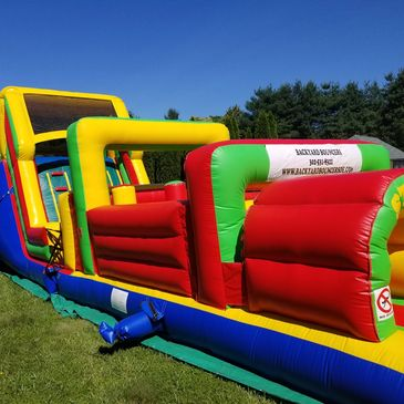 obstacle course, water slide, moon bounce, party equipment, party rentals