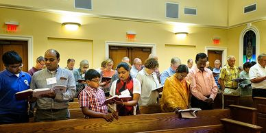 Singing hymns at Epiphany Lutheran Church