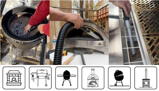 18v rechargeable ash vacuum being used to clean Pellet grill, Wood Fired Oven and Kamado Grill
